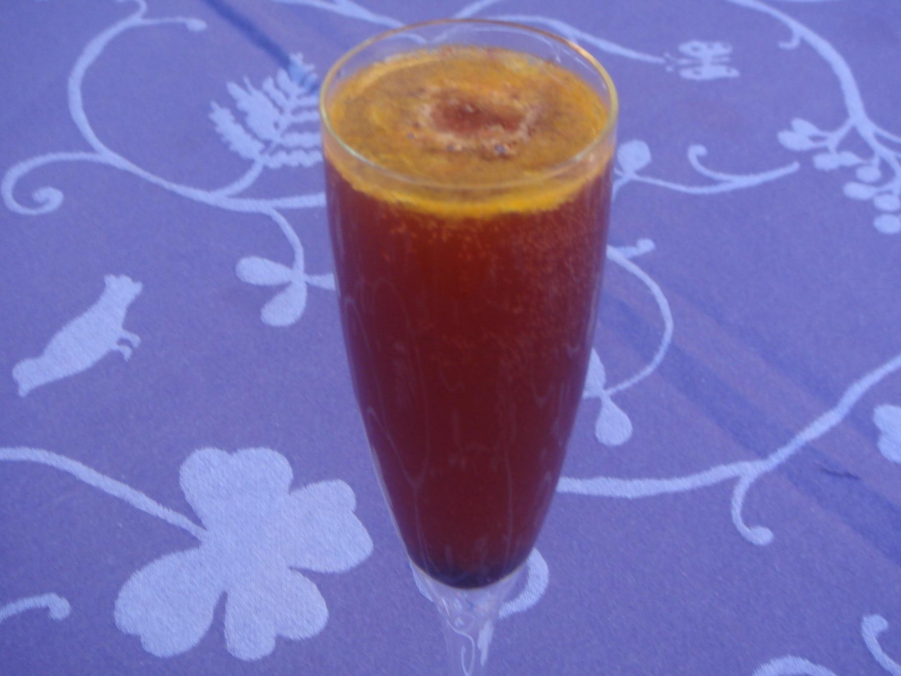 Honey Tangerine Champagne Punch With Black Cherry Granita