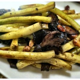 Yellow Beans with Mushroom and Pine Nuts