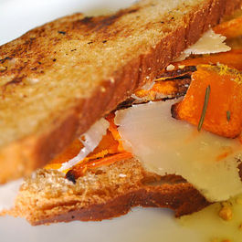 Toasted Brioche with Pumpkin Chips and Hazelnut Oil