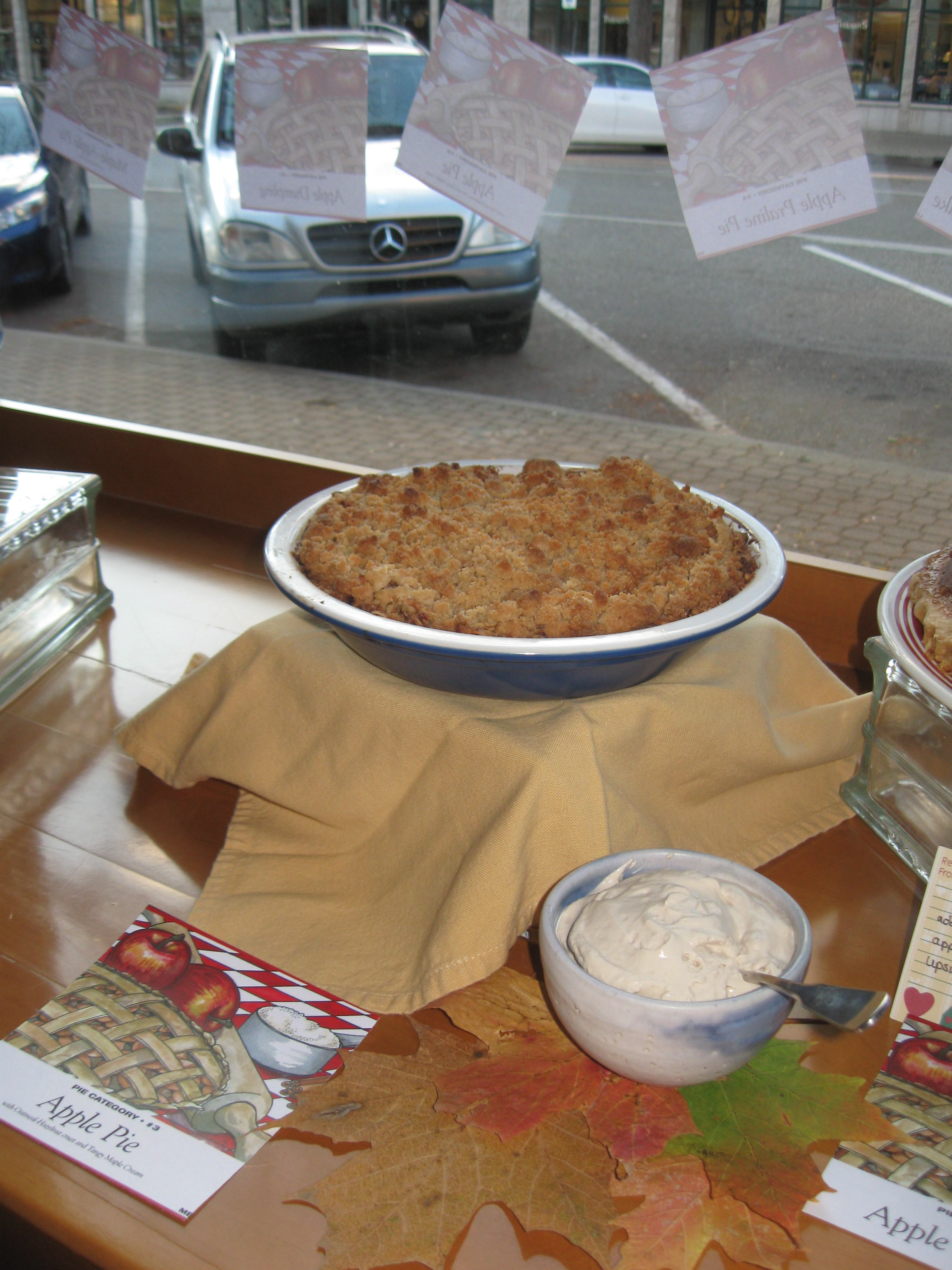 Mixed Apple Pie with Hazelnut Crumb Crust and Maple Cream