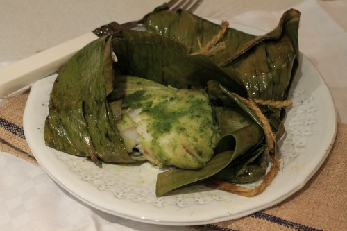 Green Chutney fish in Banana leaves