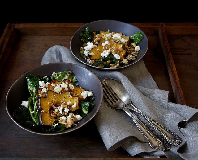 Warm Farro & Mustard Green Salad with Maple Roasted Acorn Squash, Feta & Walnuts
