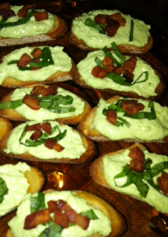 Pea and Pancetta Crostini