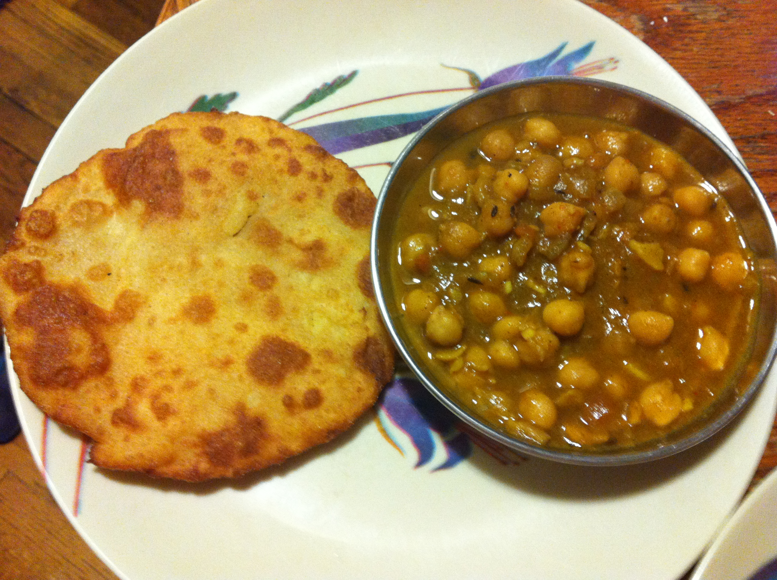 Chole Bhatura- Chickpeas or Garbanzo beans with fried bread