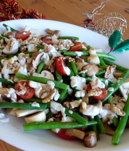 Marinated Mushroom, Green Bean, Cherry Tomato & Walnut Salad