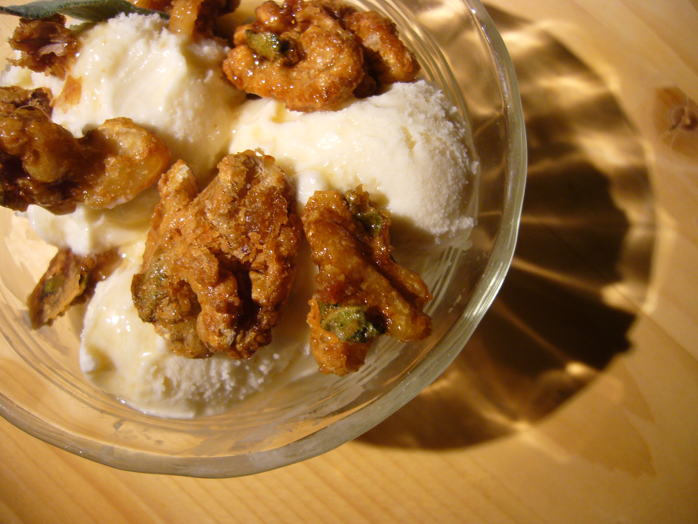Maple-Sage Ice Cream with Maple-Sage Sugared Walnuts