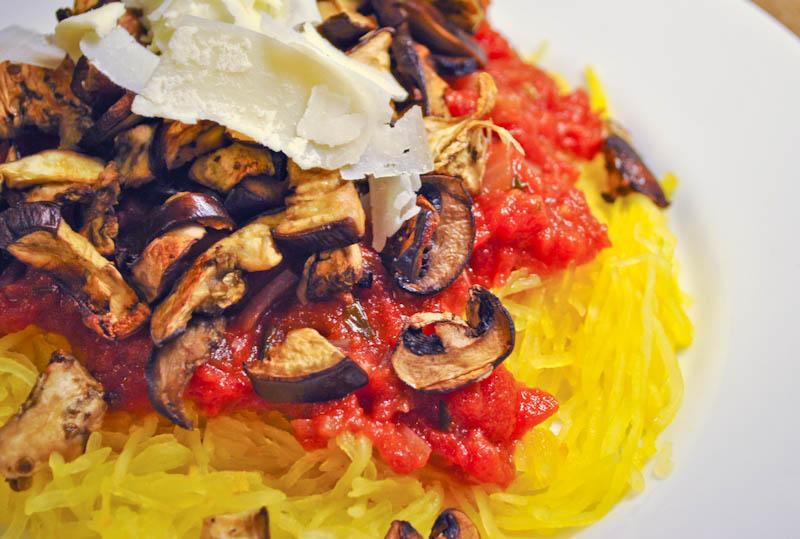 Spaghetti Squash with Roasted Eggplant, Mushrooms & Marinara