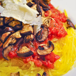 Spaghetti Squash with Roasted Eggplant, Mushrooms & Marinara