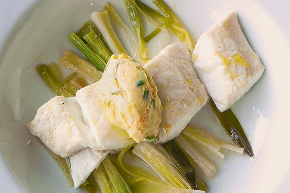 Roasted Halibut & Leeks with Citrus-Chive Butter