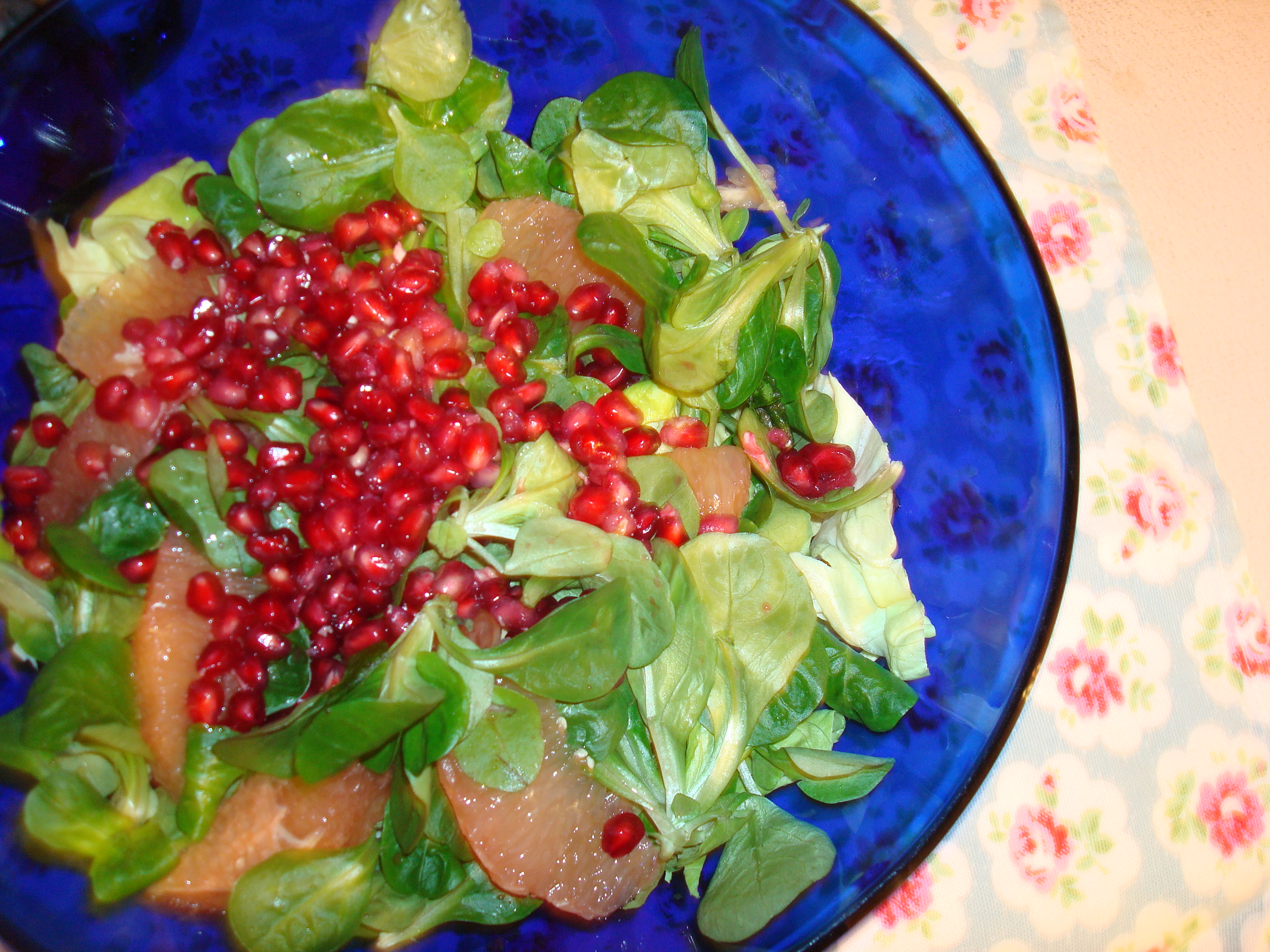 Pink Grapefruit, Pomegranate, & Mâche Salad with Lemon-Ume Vinaigrette