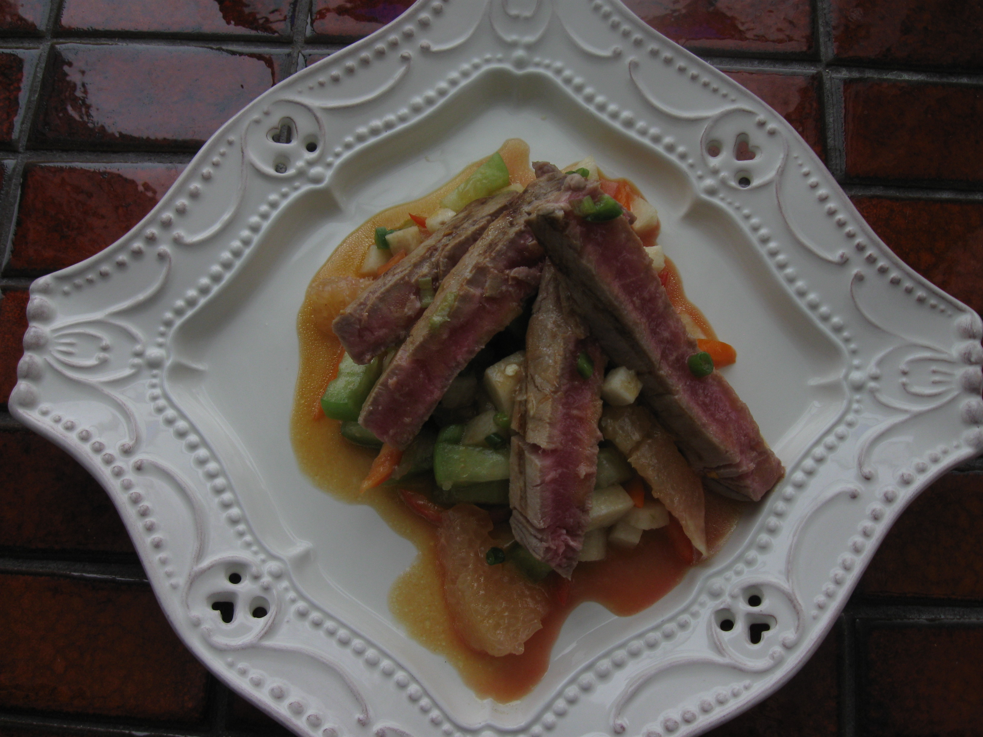 Seared Ahi with Pomelo Salad