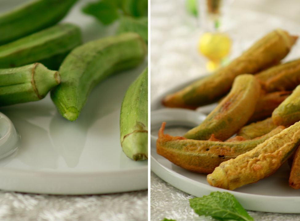 Okra Fritters with Yogurt & mint dip