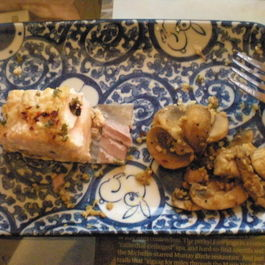 Baked Salmon and Garlic Mushrooms