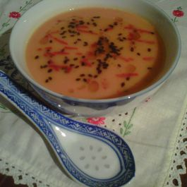 """Sesame Three Ways"" Sweet Potato and Carrot Soup"