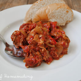 Italian Pork and Pepper Stew ~ Crock Pot Style