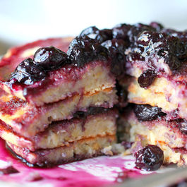 Lemon Scented Polenta Pancakes with Blueberry Thyme Syrup
