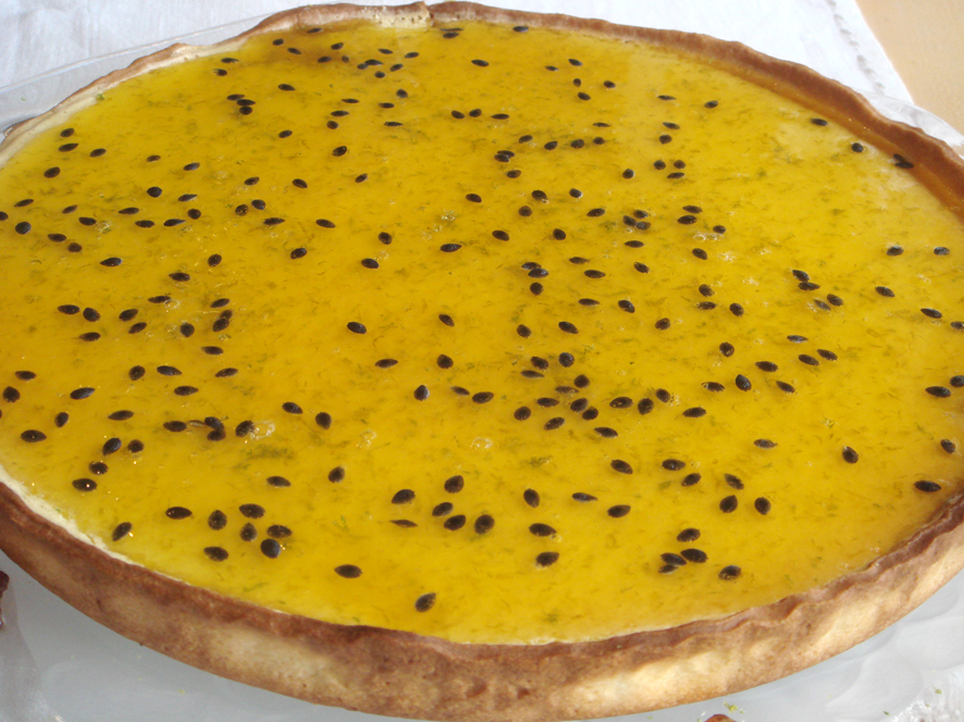 Coconut Tart with Passion Fruit and Lime Syrup