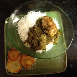 Iranian / Persian Herbed Celery Chicken with Crispy Potato-Crusted Rice