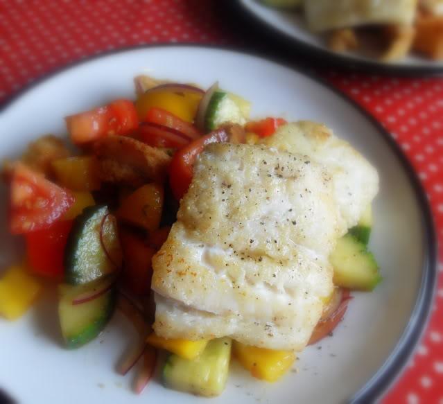 Crispy fish with gazpacho salad