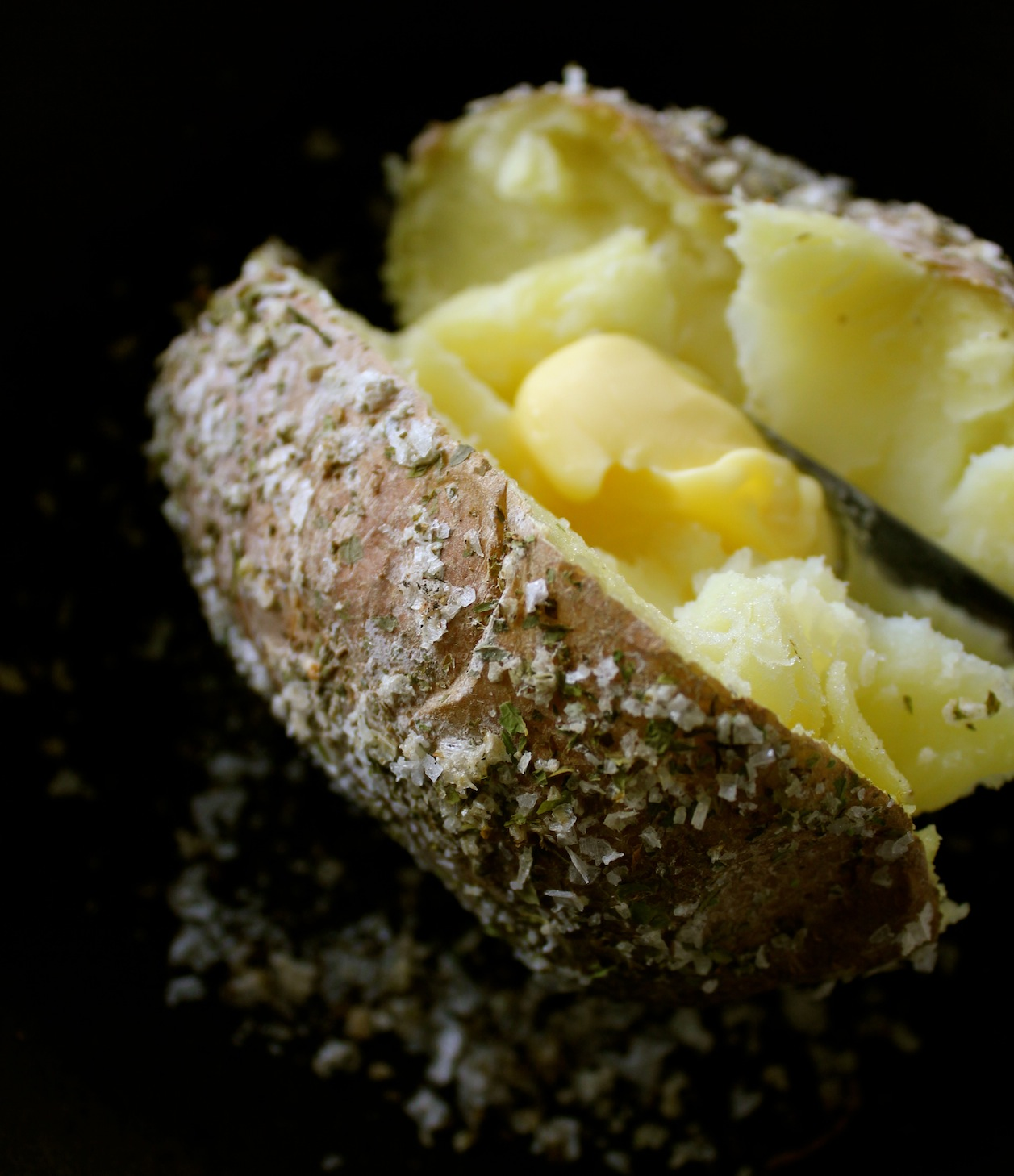Homemade celery-salt crusted baked potato