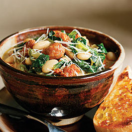 Spicy Sausage, Escarole and White Bean Stew