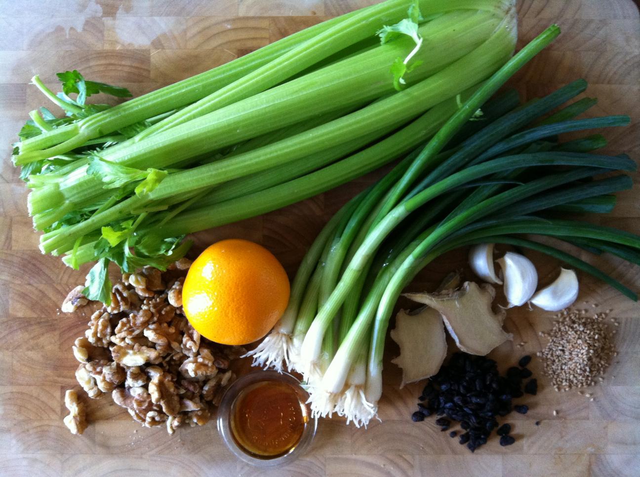 Celery & Scallions in Black Bean Sauce with Orange Honey Glazed Walnuts