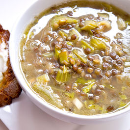 Roasted celery, leek and French green lentil soup