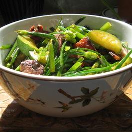 Smoky Garlic Chives, Squash and Bacon