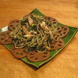 Green Tea Noodles with Tea Smoked Salmon, Edamame, Kale and Lemon Sesame Aioli