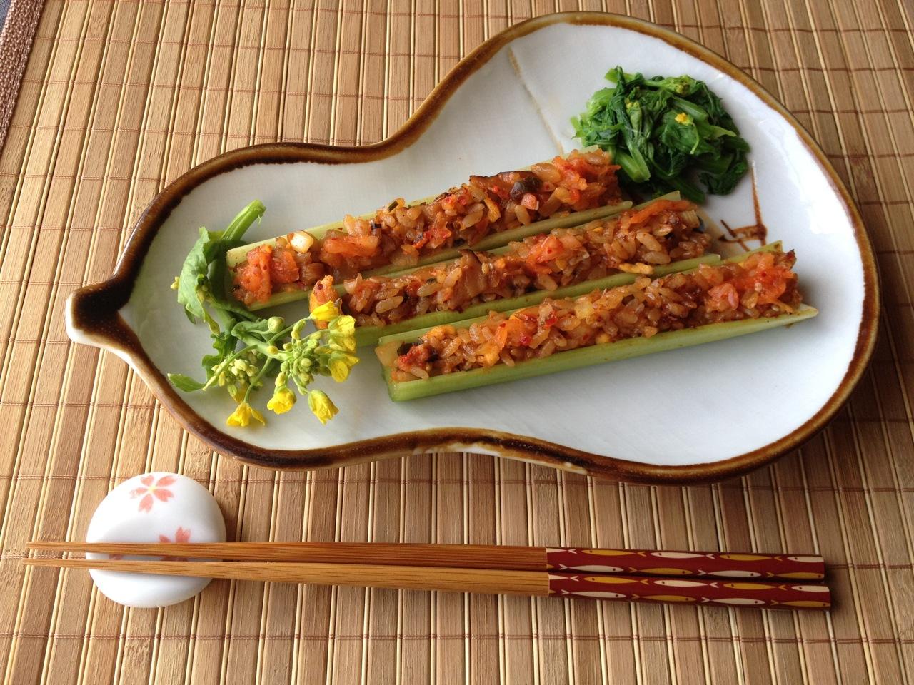 Kimchi-Rice Celery with Nanohana Flowers