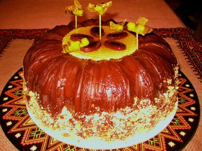 Maple_honeybee_cake_with_bittersweet_chocolate_almond_chocolate_brittle_glaze_3-22-2012