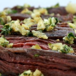 Broiled Marinated Skirt Steak with Cilantro and Preserved Lemon Gremolata