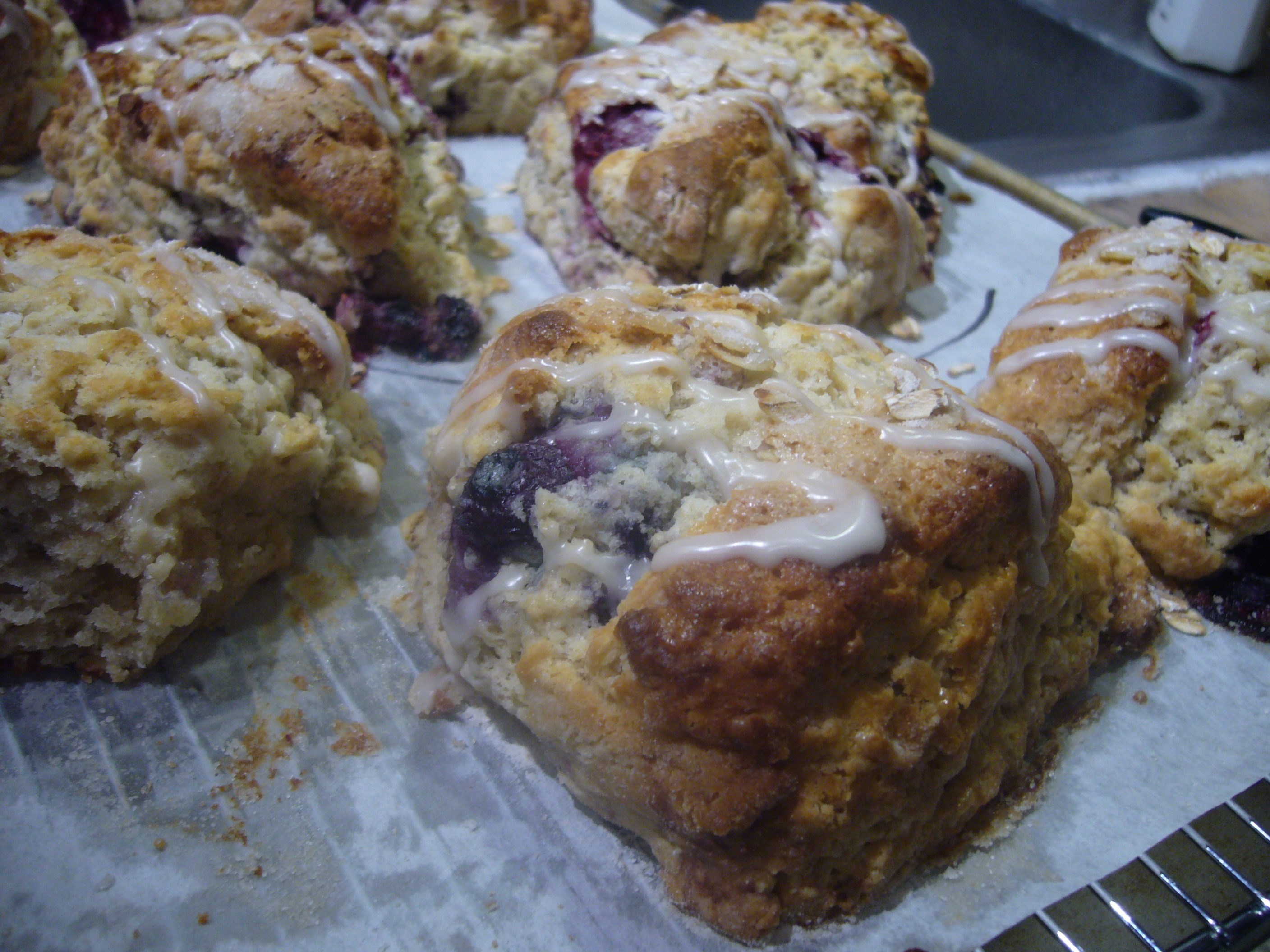 Maple Oatmeal Berry Scones with Maple Bourbon Drizzle