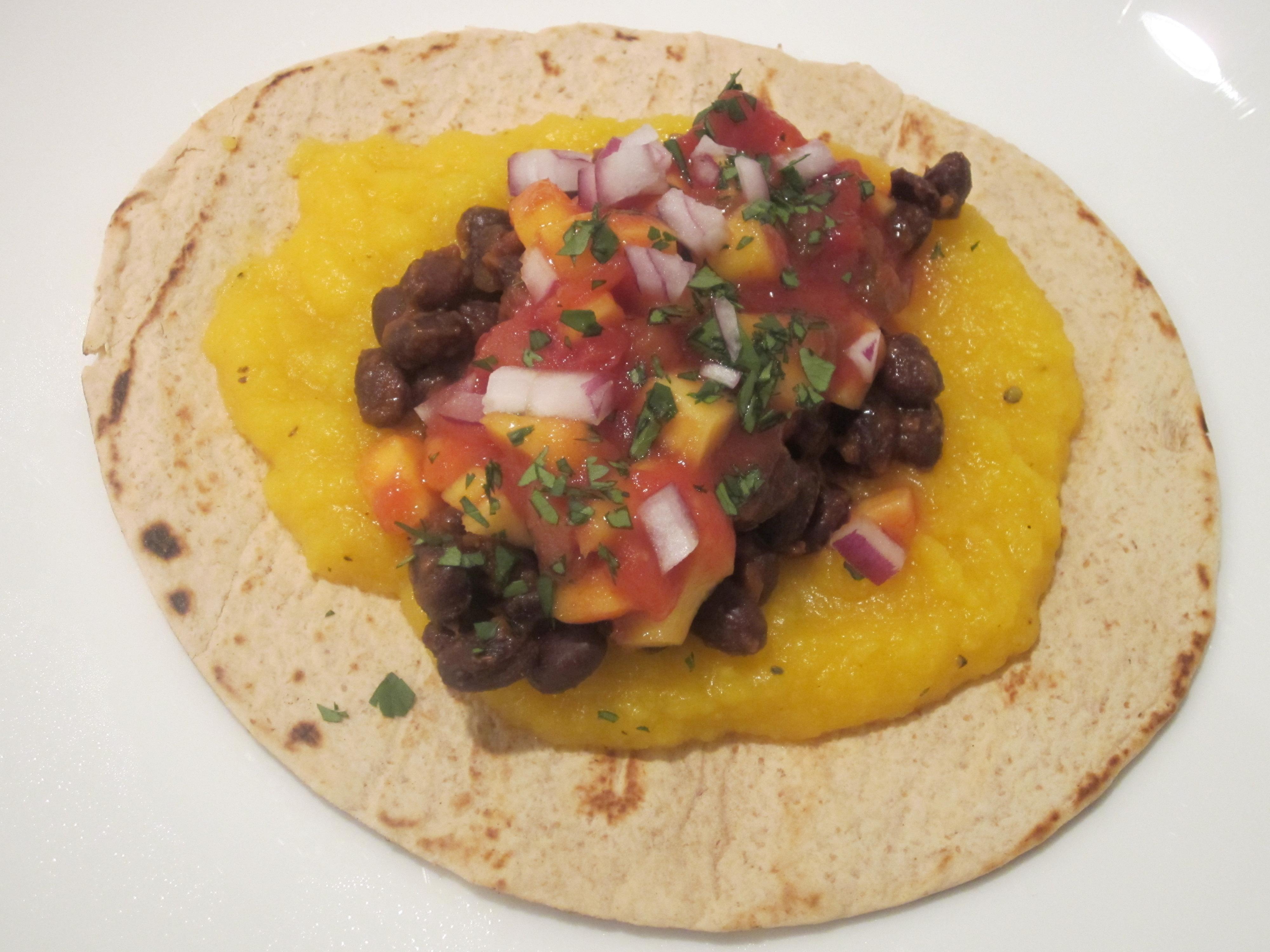 Butternut Squash, Black Bean & Mango Tacos