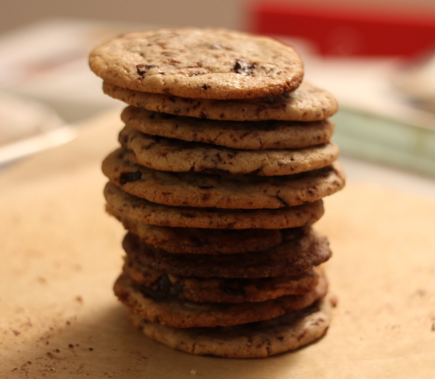 Dark Chocolate Chip Cookies with Cocoa Nibs