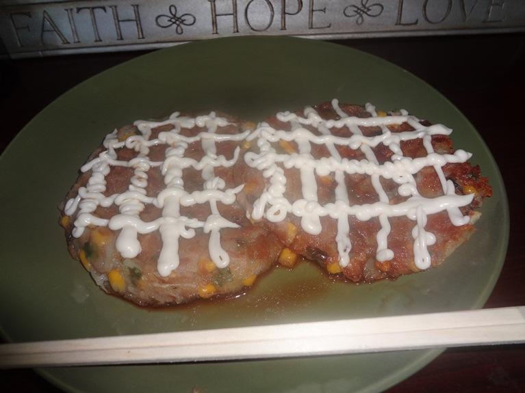 Potato Okonomiyaki with Teriyaki Mayo Sauce