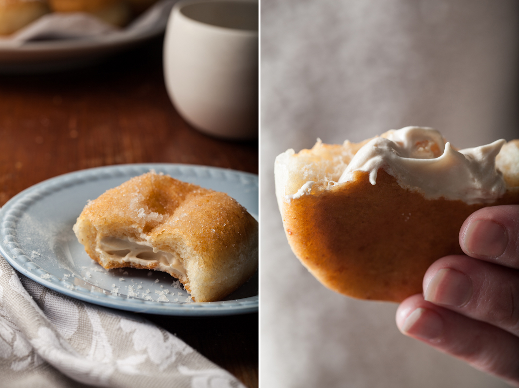 Maple Meringue Filled Doughnuts