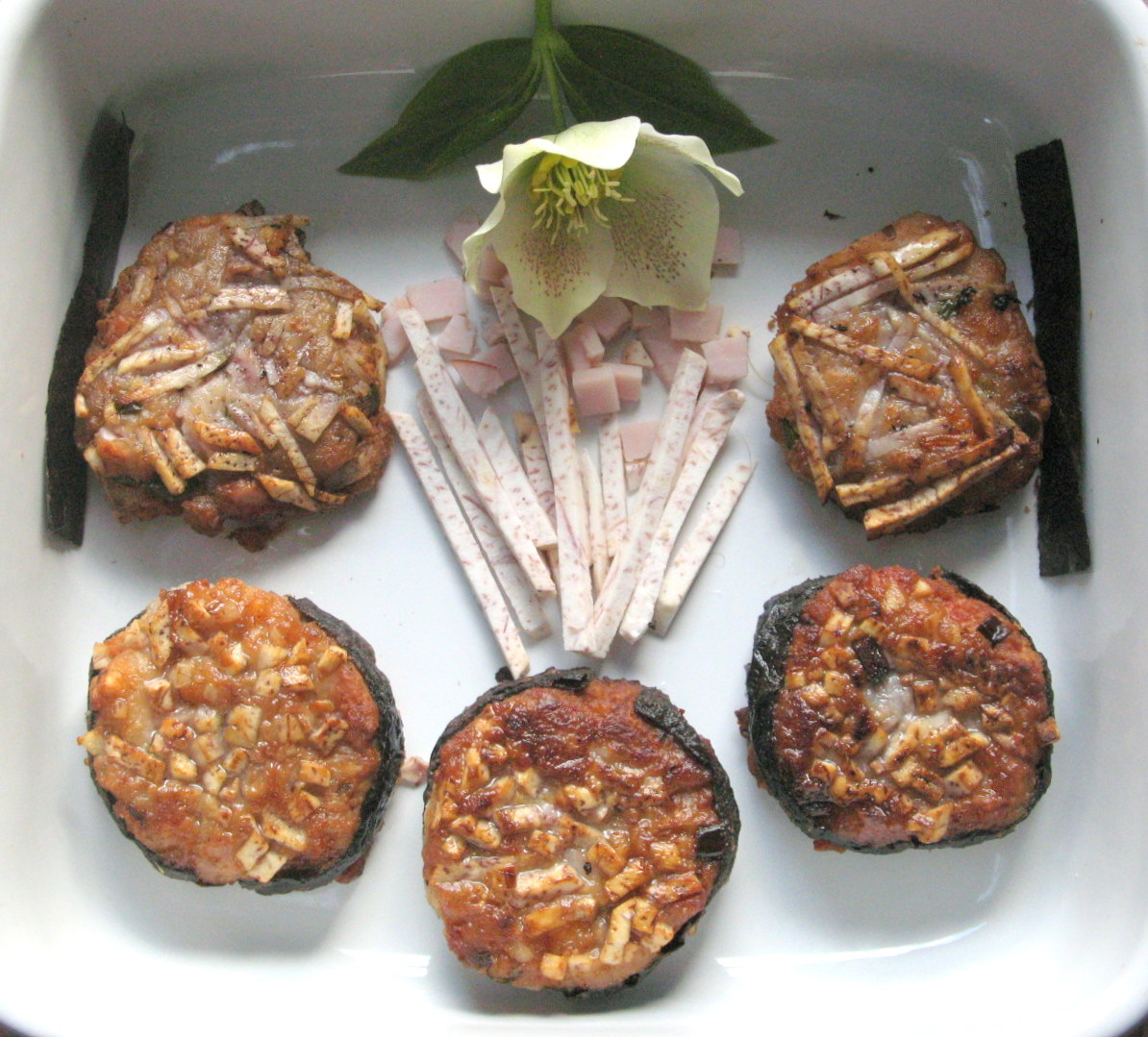 Taro Cakes with Shiitakes,Ham, and Scallions