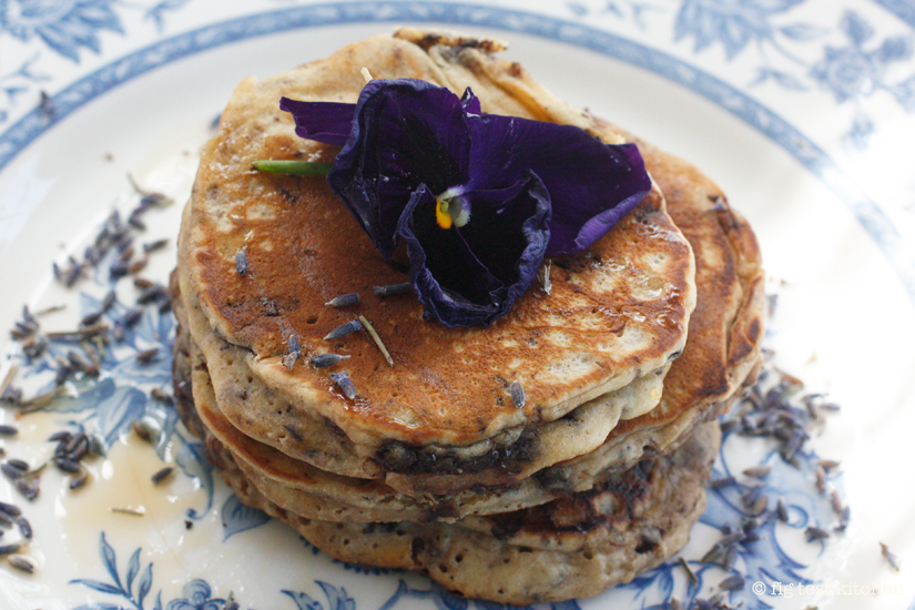 Lavender-Chocolate Chunk Pancakes with Crème Frâiche