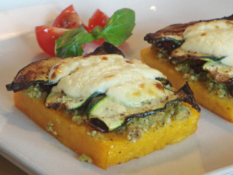 Grilled Polenta with Almond Pesto, Dried Tomatoes and Zucchini