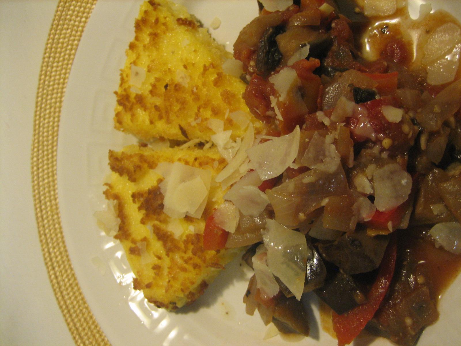 Cheesy fried Polenta Wedges with Spicy Eggplant Stew