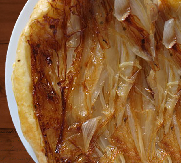 Tatin Tart with Caramelized Onions, Gorgonzola and Mustard