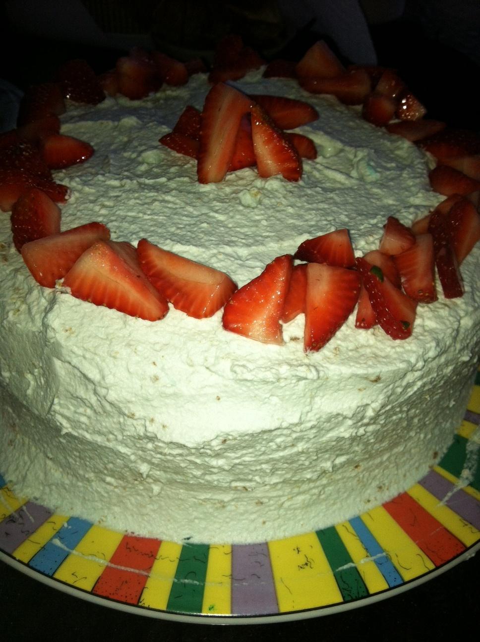 Lemon Poppy Seed Strawberry Cake with Lavender Whipped Cream