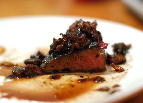 Steak with Cherry-Red Wine Sauce