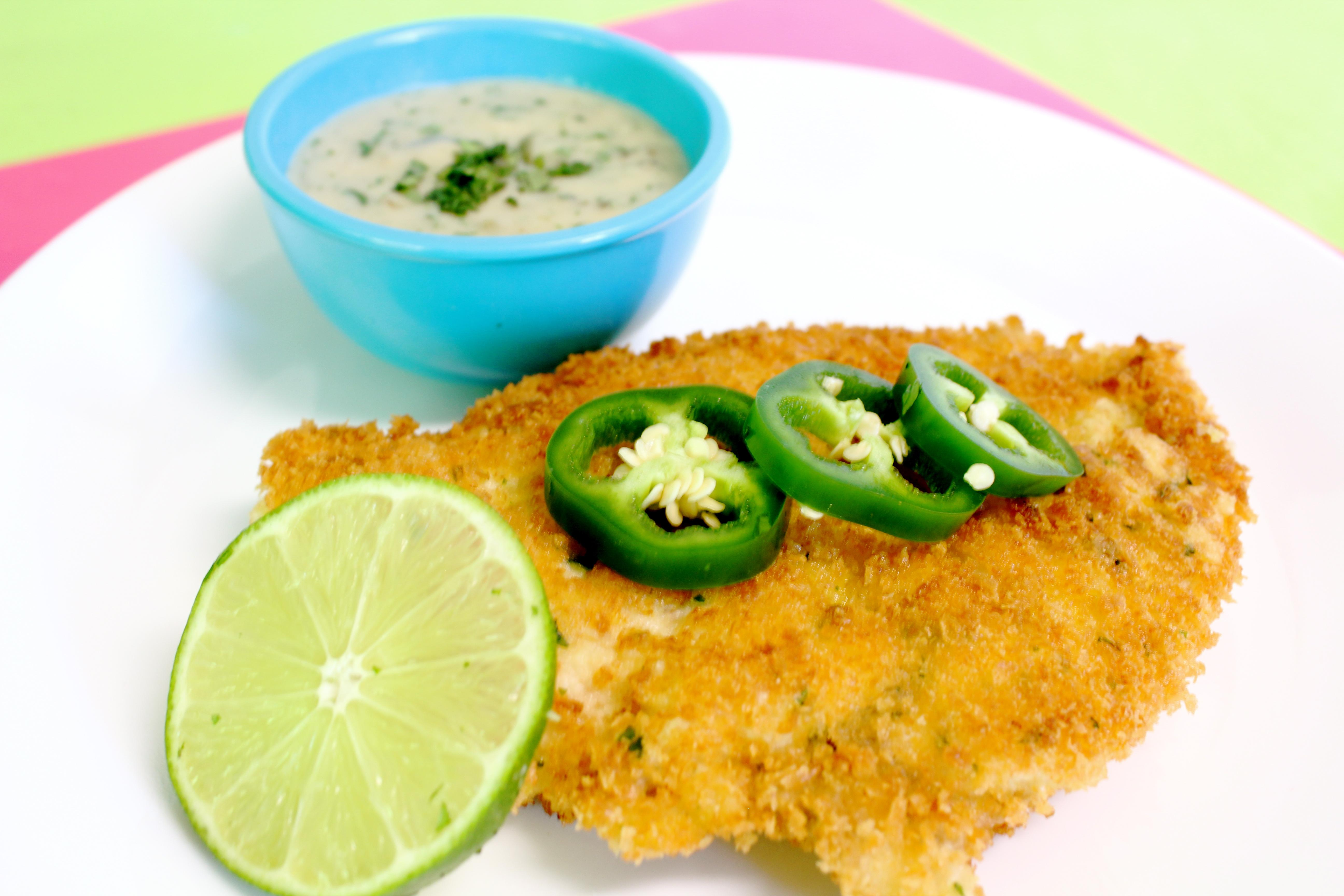 Chicken Schnitzel with Jalapeno Cilantro Sauce