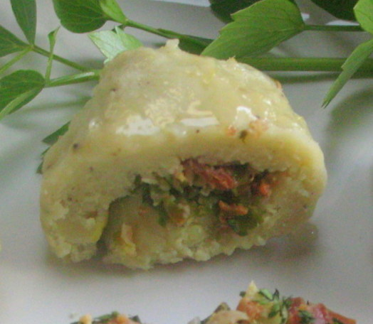 Celery Root Potato Dumplings Filled with Spring Onions and Bacon