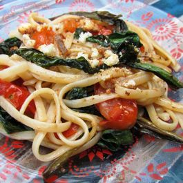 Pasta with roasted ramps and grape tomatoes (GF)