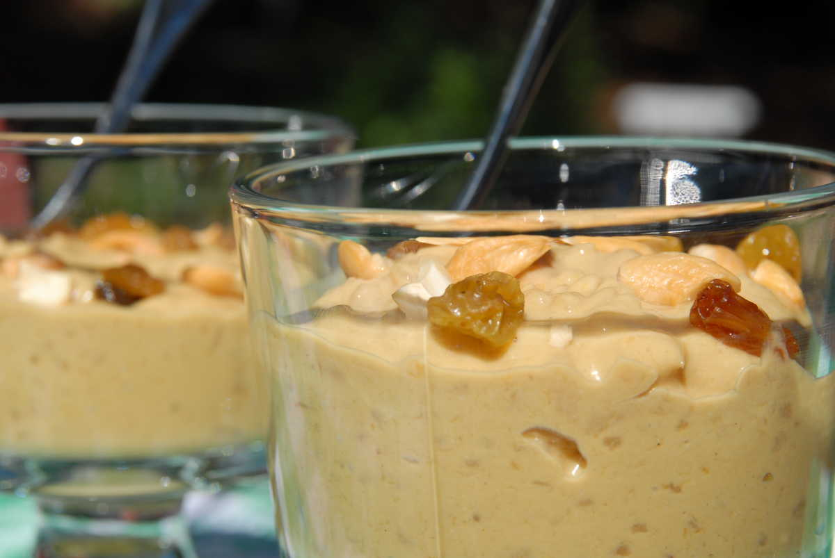 Mango, caramel and cardamom rice pudding (Aam payesh)