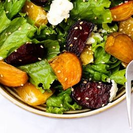 Roasted Beet Salad with Orange Citrus Vinaigrette and Goat