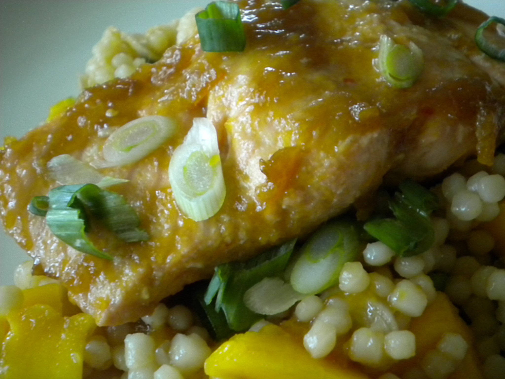 Mango Glazed Salmon Over a Salad of Mangoes and Couscous